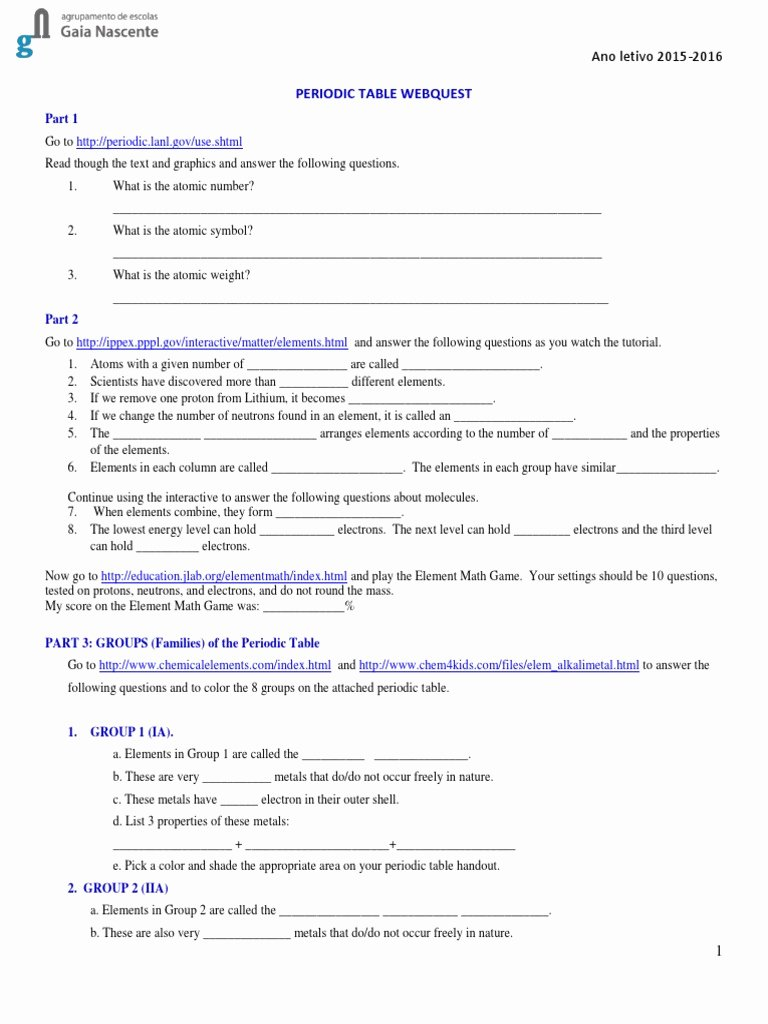 Periodic Table Webquest Worksheet Answers Fresh Periodic Table Webquest 2 Periodic Table