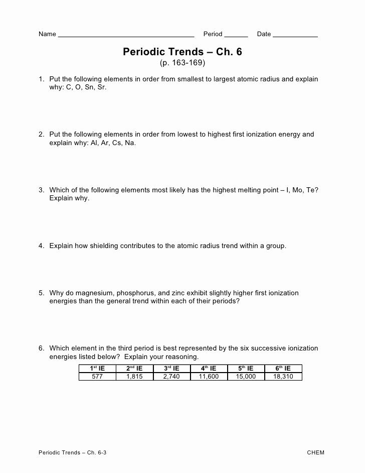 Periodic Trends Worksheet Answer Key Kids Periodic Trends Ws