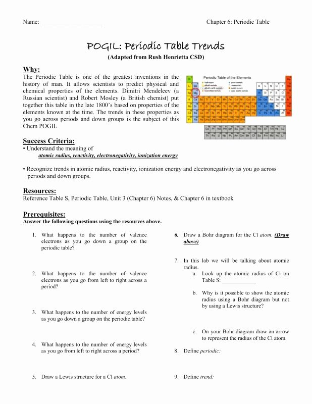 Periodic Trends Worksheet Answer Key Lovely 50 Periodic Trends Worksheet Answer Key In 2020