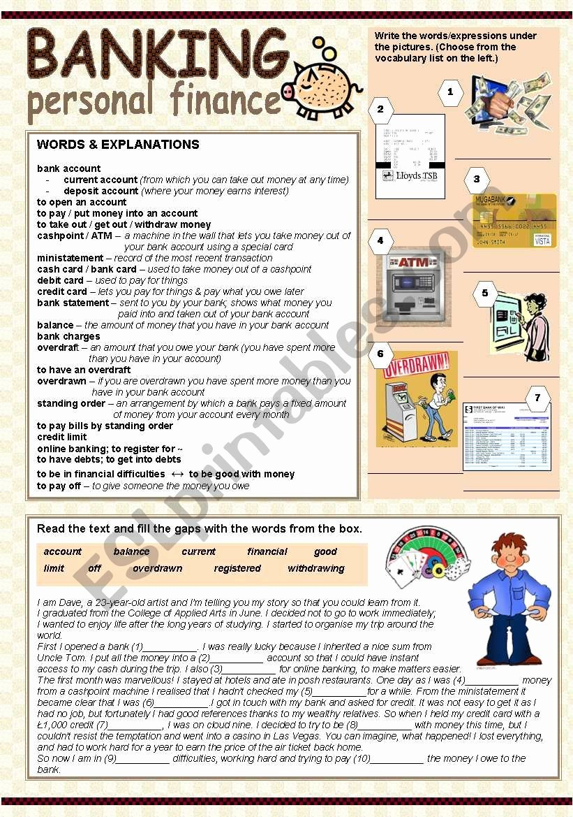 Personal Finance High School Worksheets Kids Banking Personal Finance Esl Worksheet by Tecus Financial