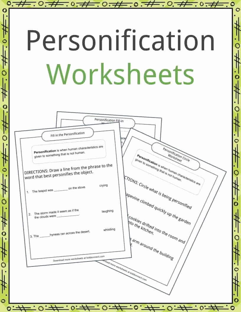 Personification Worksheets for Middle School Fresh Personification Examples Definition and Worksheets
