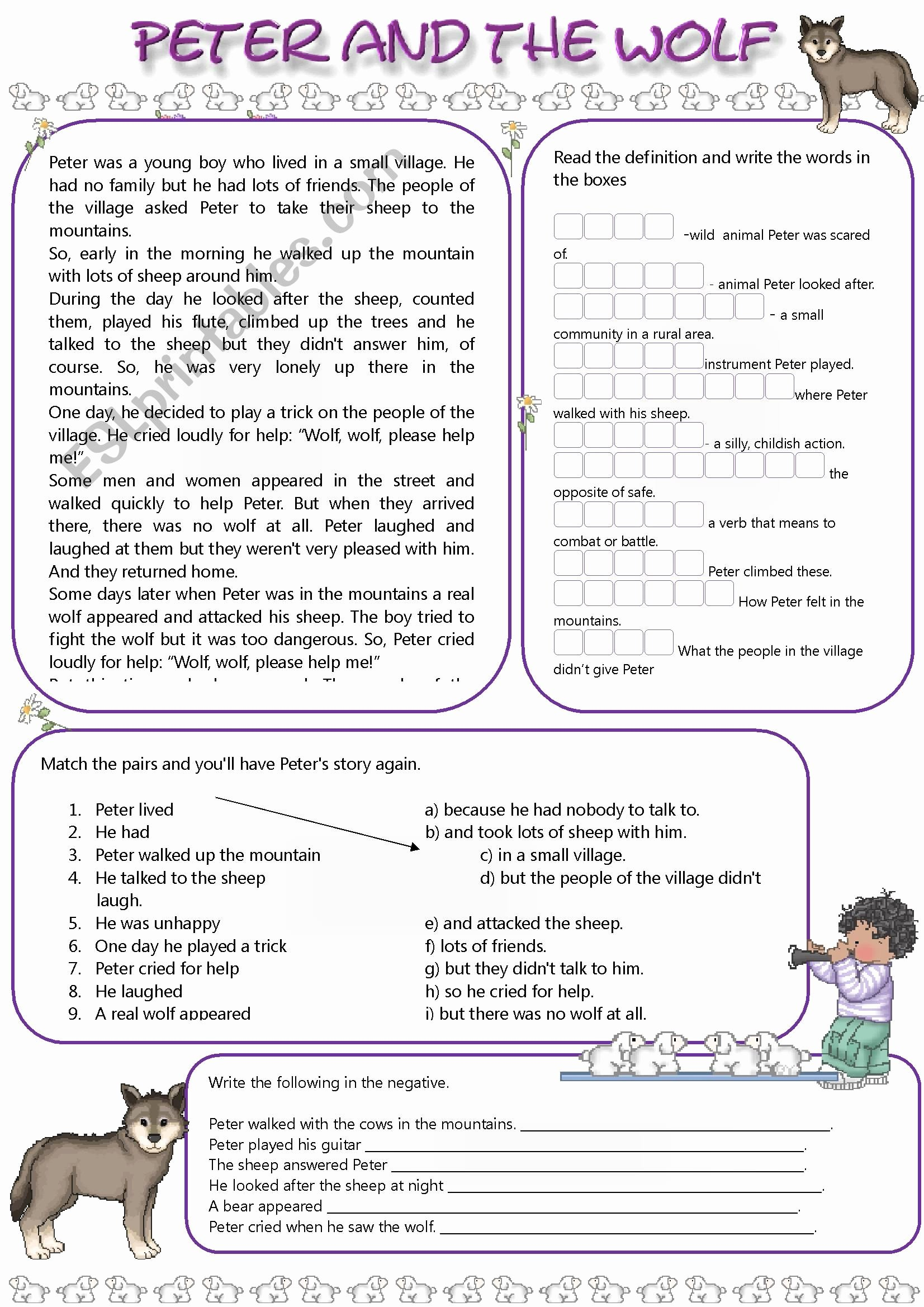 Peter and the Wolf Worksheet top Peter and the Wolf Esl Worksheet by Mandysantos