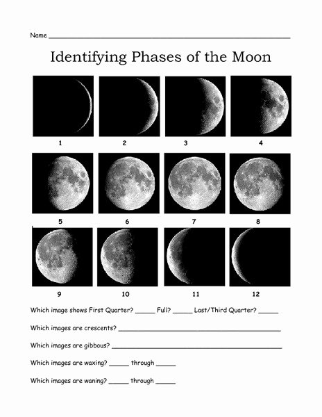Phases Of the Moon Worksheet Best Of Identifying Phases Of the Moon Worksheet for 3rd 7th Grade