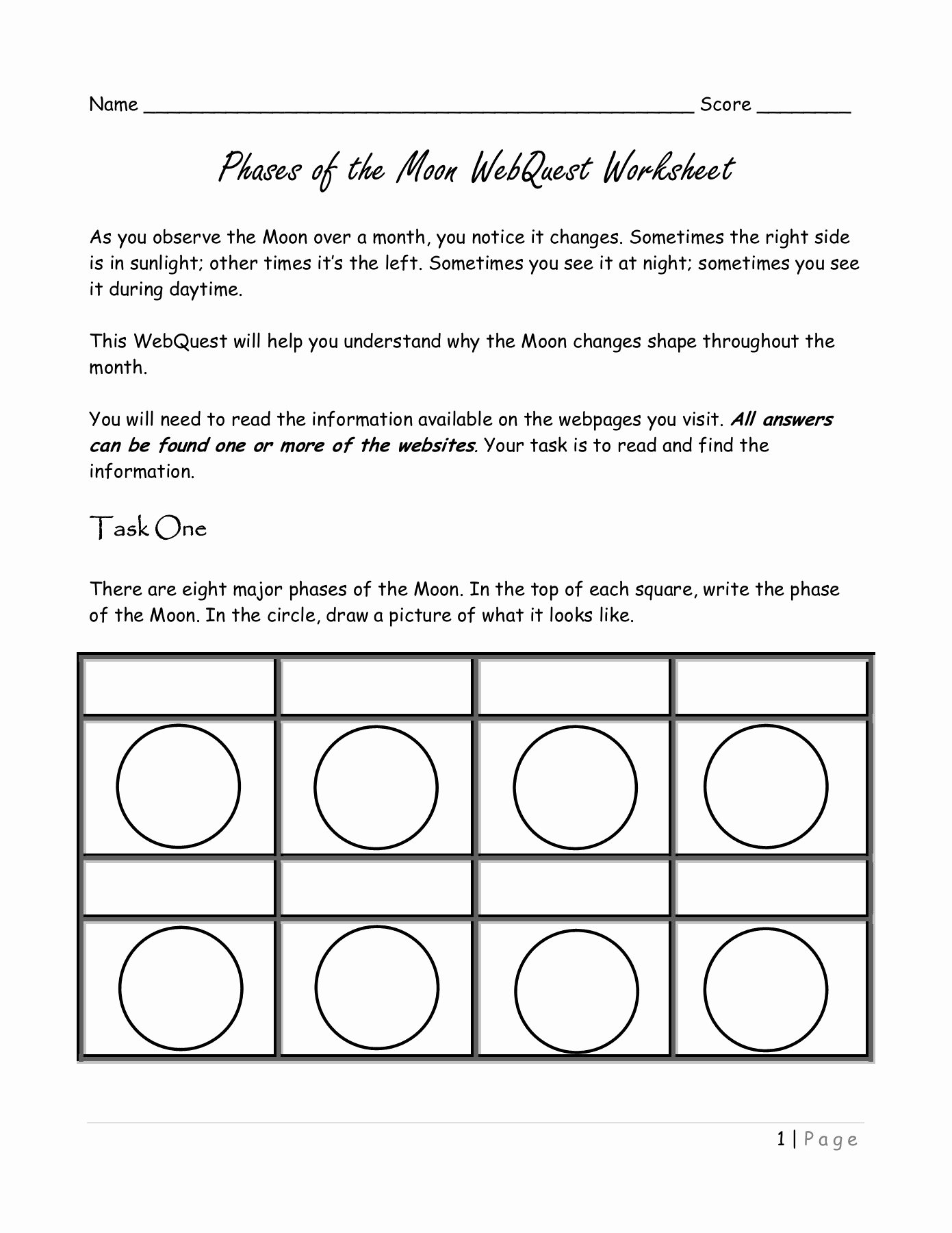 Phases Of the Moon Worksheet Best Of Phases Of the Moon Webquest Worksheet Mrscienceut