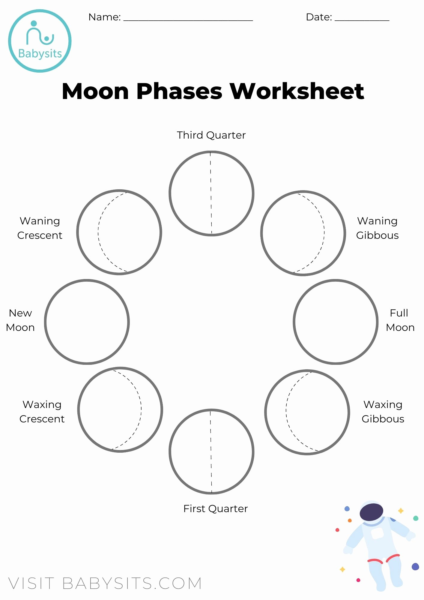 Phases Of the Moon Worksheet Inspirational Phases Of the Moon Space Crafts for Kids with Moon Phases