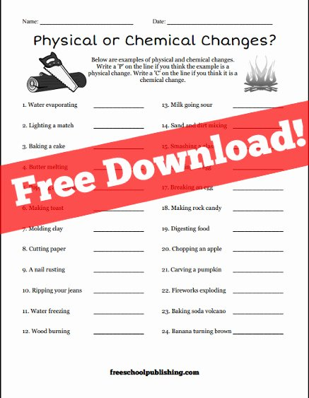 Physical and Chemical Changes Worksheet top Physical or Chemical Changes Worksheet – Freeschool Publishing