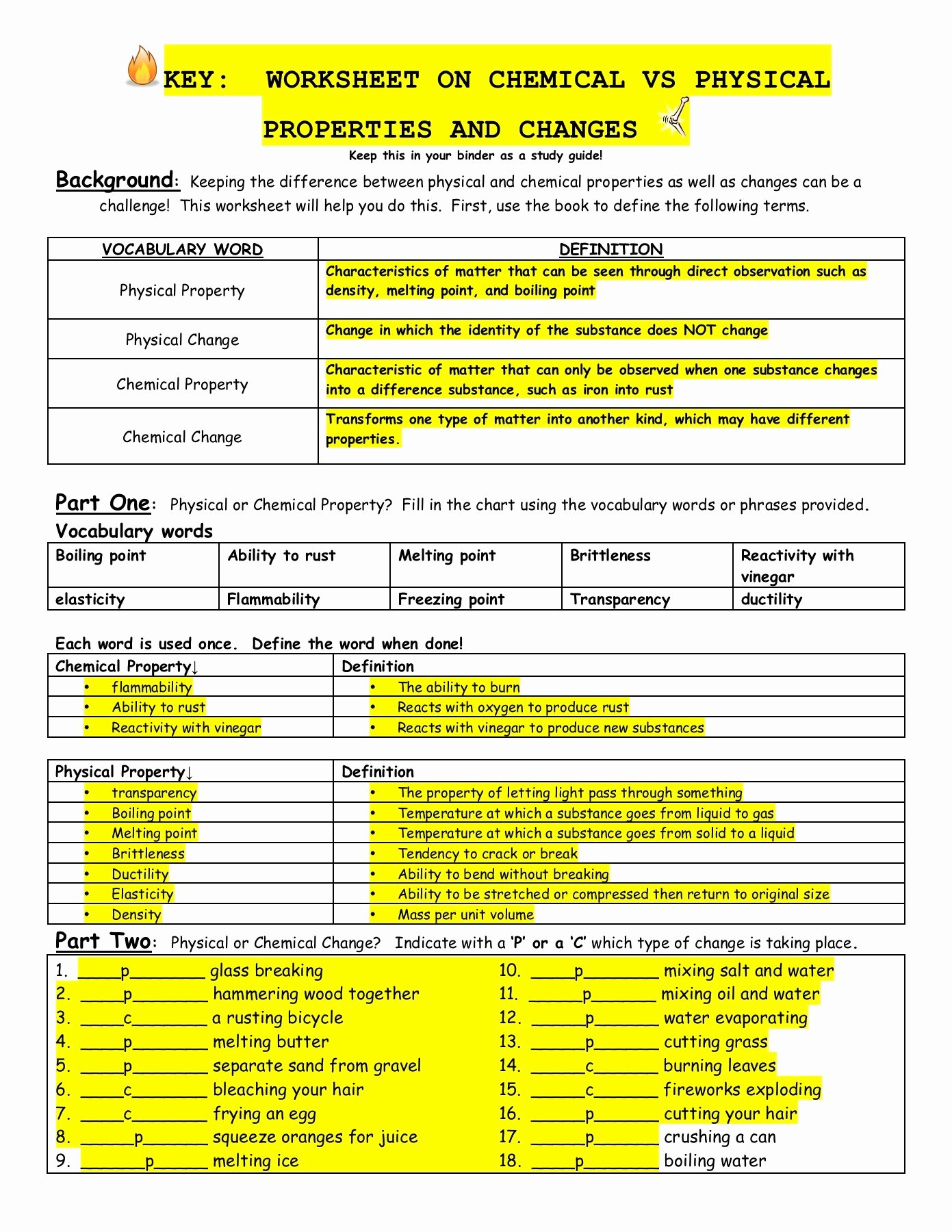 Physical and Chemical Properties Worksheet Inspirational Worksheet On Chemical Vs Physical Properties and Changes