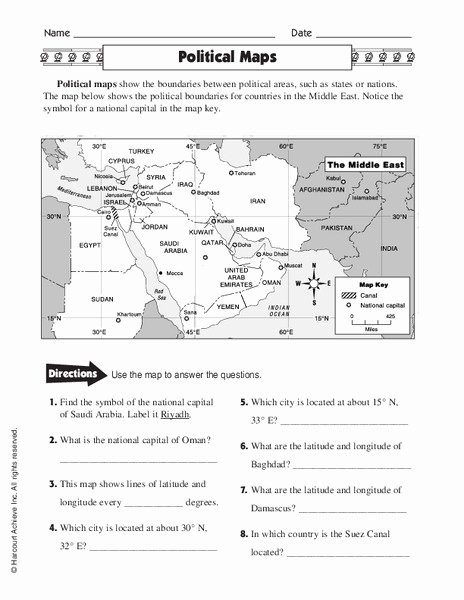 Physical and Political Maps Worksheets Best Of Political Maps Worksheet for 5th 6th Grade