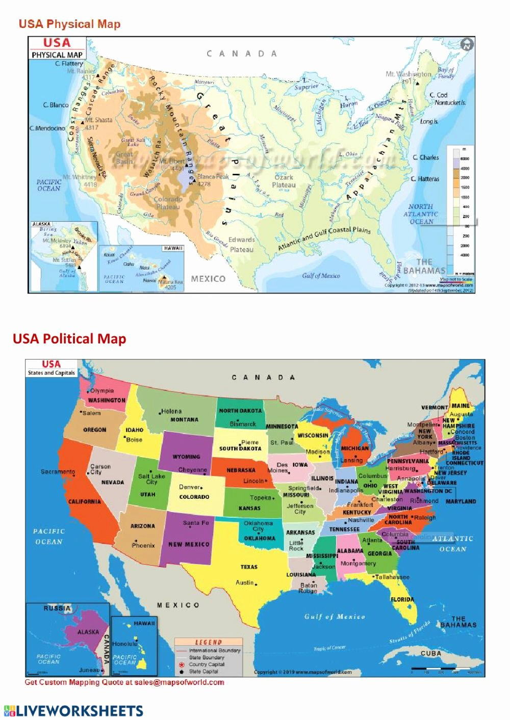 Physical and Political Maps Worksheets Ideas Physical and Political Maps Interactive Worksheet