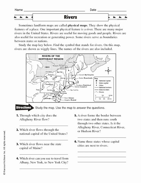 Physical and Political Maps Worksheets Ideas Physical Maps Rivers Worksheet for 5th 6th Grade