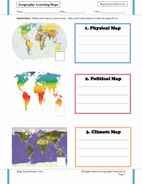 Physical and Political Maps Worksheets New Geography for Kids Worksheets Mega social Stu S