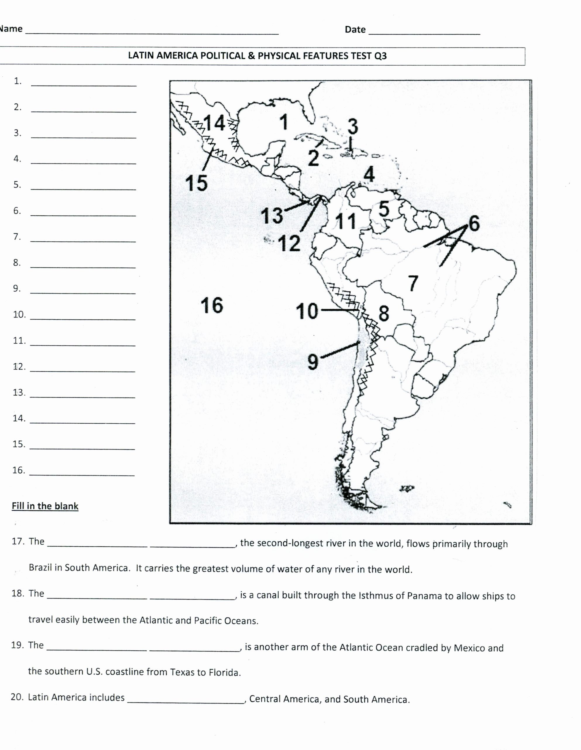 Physical and Political Maps Worksheets Printable Latin America Physical and Political Map Mrs Davis 6th