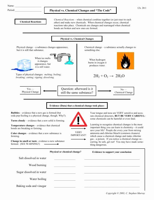Physical Vs Chemical Changes Worksheet Best Of Physical Vs Chemical Changes