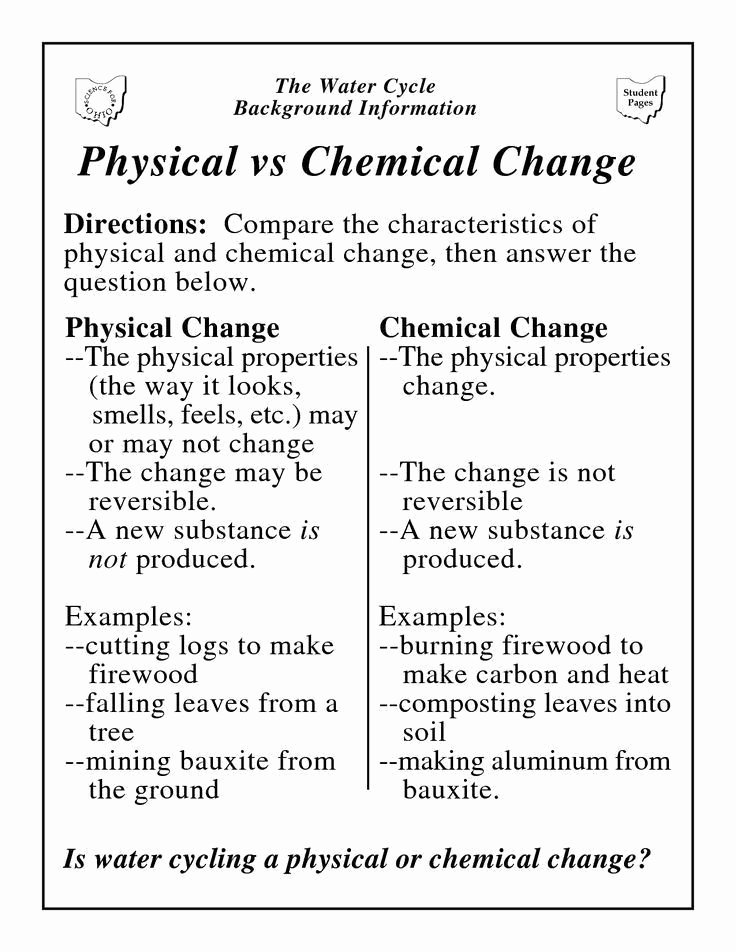 Physical Vs Chemical Changes Worksheet Fresh Chemical and Physical Change Worksheet Physical Vs Chemical