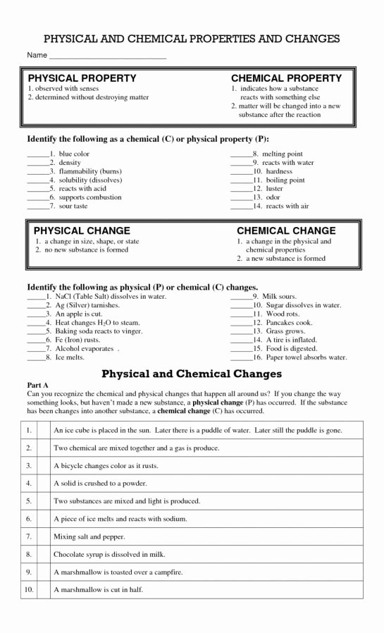 Physical Vs Chemical Changes Worksheet Kids 9 Physical and Chemical Change Worksheet 5th Grade