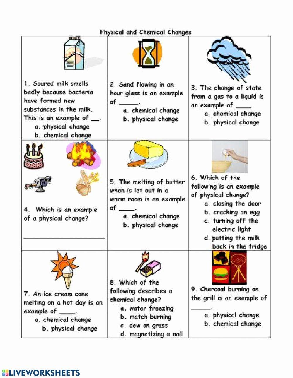Physical Vs Chemical Changes Worksheet Lovely Physical and Chemical Changes Interactive Worksheet