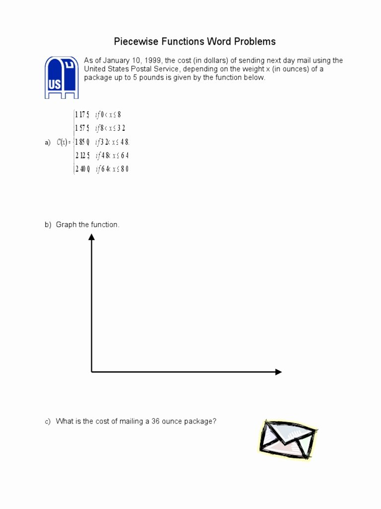 Piecewise Functions Word Problems Worksheet Lovely Piecewise Functions Word 2