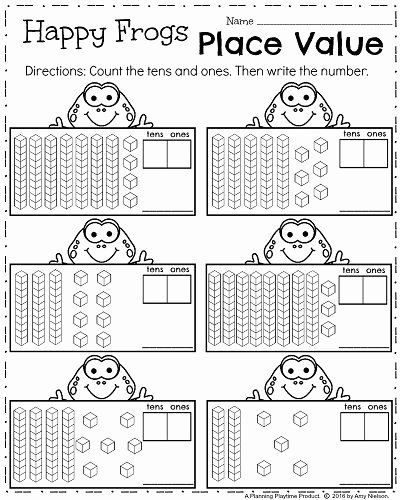 Place Value Worksheet 1st Grade top First Grade Math Worksheets for Spring Place Value