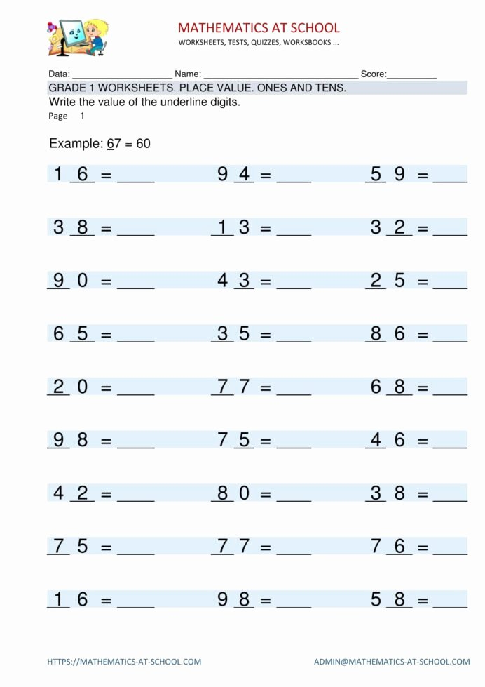 Place Value Worksheet 3rd Grade top Grade Worksheets Place Value Identifying Digits Es and