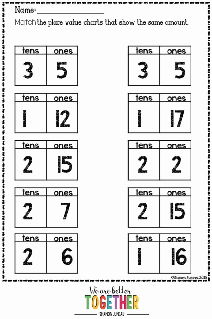 Place Value Worksheets 1st Grade Kids Math Worksheets 1st Grade Ten More Less In Second Word Games