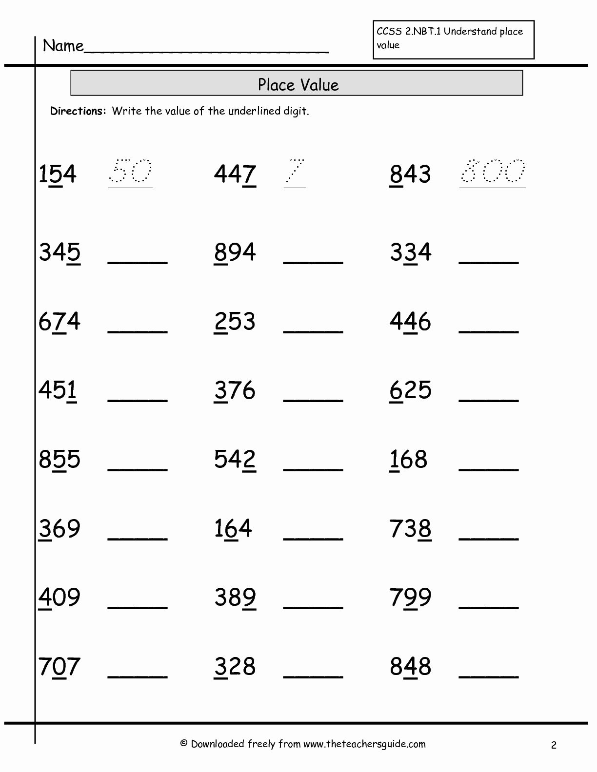 Place Value Worksheets 2nd Grade Printable Place Value Worksheets From the Teacher S Guide