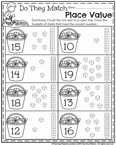 Place Value Worksheets for Kindergarten Free Summer Kindergarten Worksheets Planning Playtime