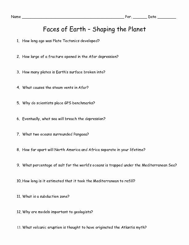 Planet Earth Freshwater Worksheet Answers New Faces Of Earth – Shaping the Planet Worksheet for 6th 10th