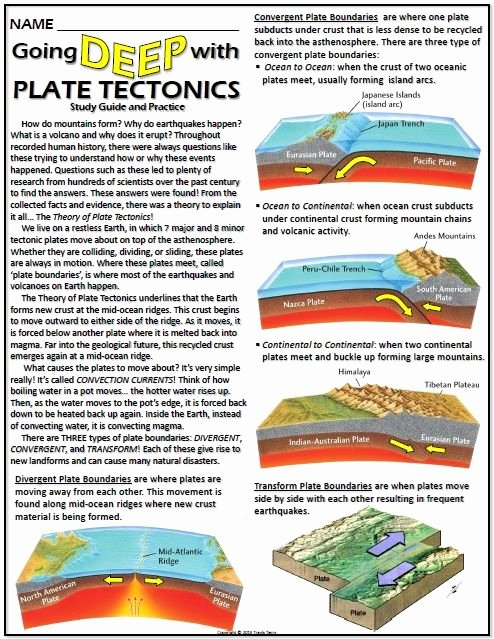 Plate Tectonics Worksheet 6th Grade Free This Worksheet Helps Student S Understanding Of Plate