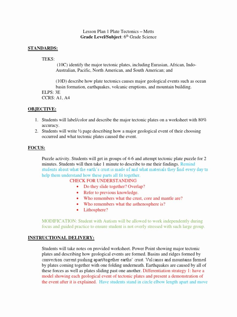 Plate Tectonics Worksheet 6th Grade Fresh 6th Grade Plate Tectonics Lesson Plan