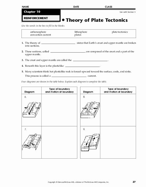 Plate Tectonics Worksheet 6th Grade Printable theory Of Plate Tectonics Worksheet for 6th 8th Grade