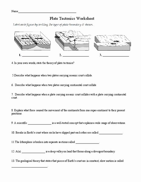 Plate Tectonics Worksheet 6th Grade top Plate Tectonics Worksheet for 6th 8th Grade