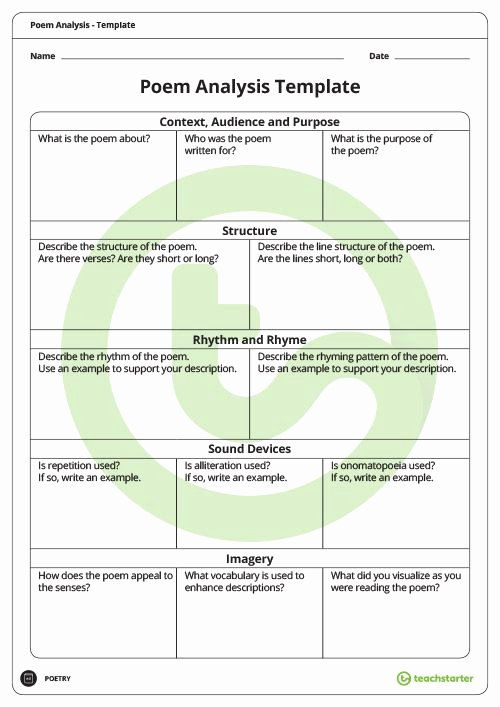 Poetry Analysis Worksheet High School Ideas Poetry Analysis Template Teaching Resource In 2020