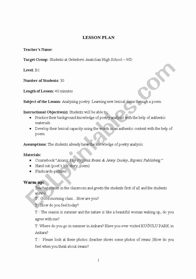 Poetry Analysis Worksheet High School Inspirational Lesson Plan 15 Analyzing Poetry Learning New Lexical Items