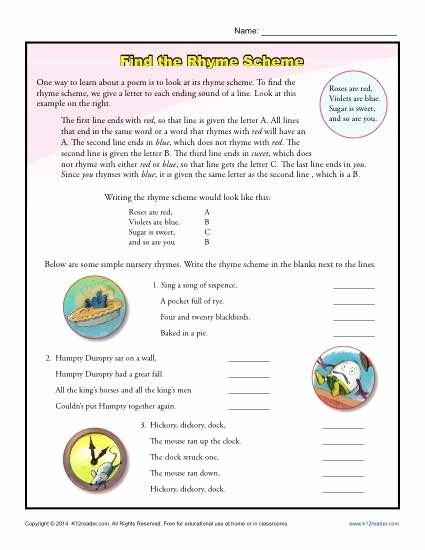 Poetry Analysis Worksheet Middle School Fresh Poetry Analysis Worksheet Middle School Find the Rhyme