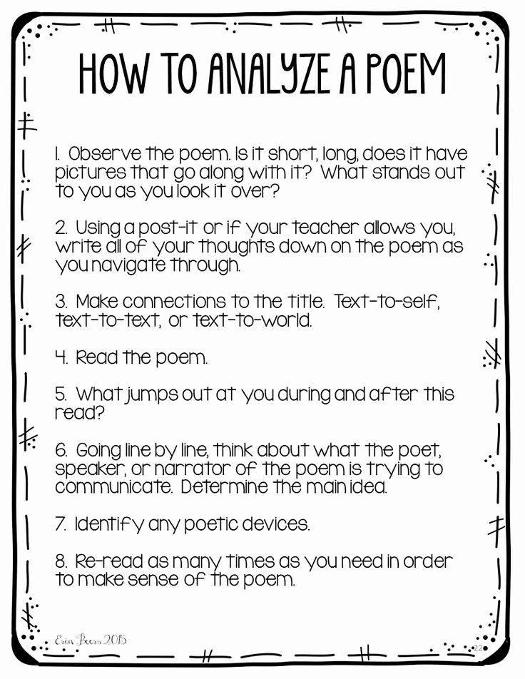 Poetry Analysis Worksheet Middle School Inspirational Poetry Analysis for Middle School Students
