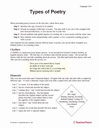 Poetry Analysis Worksheet Middle School Inspirational Poetry Lessons & Activities Gallery Of Worksheets Grades 6