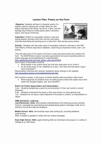 Poetry Analysis Worksheet Middle School Printable Lesson Plan Poetry On the Farm Audio Video Barn