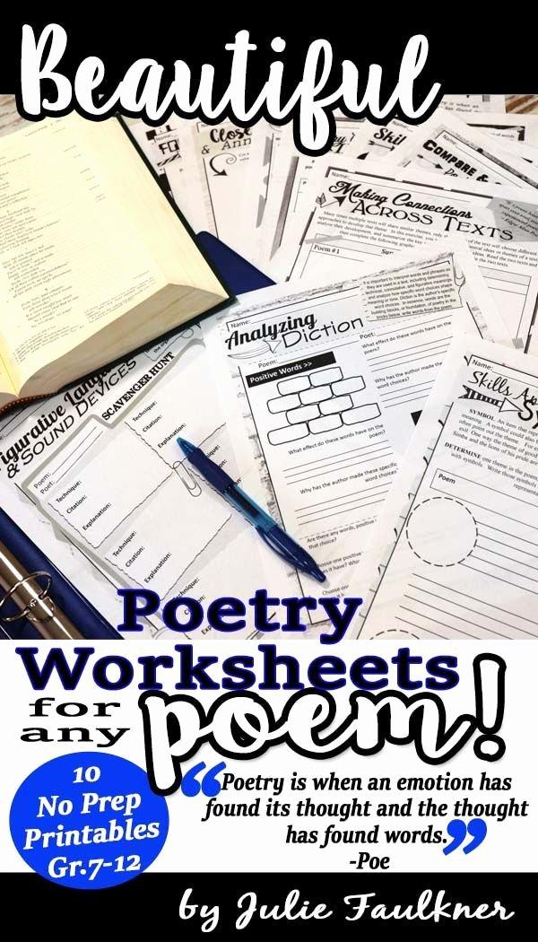 Poetry Analysis Worksheet Middle School top Poetry Analysis Worksheets Printable and Digital Distance