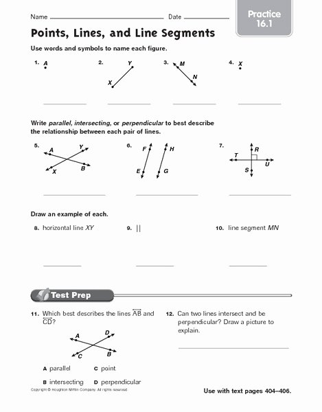 Points Lines and Planes Worksheet Best Of Points Lines and Line Segments Practice 16 1 Worksheet