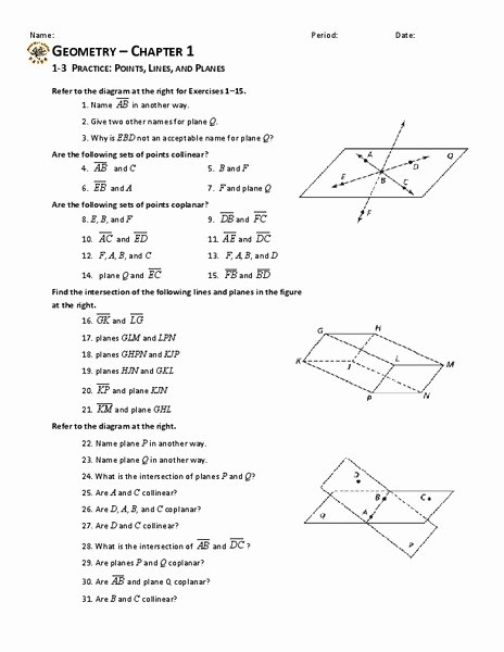 Points Lines and Planes Worksheet Lovely Points Lines and Planes Worksheet for 10th Grade