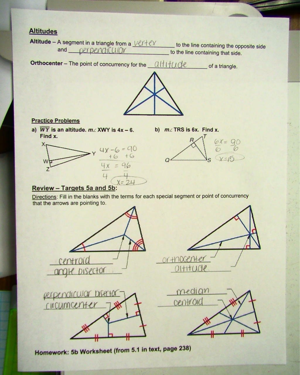 Points Of Concurrency Worksheet Answers Kids Msbalboni