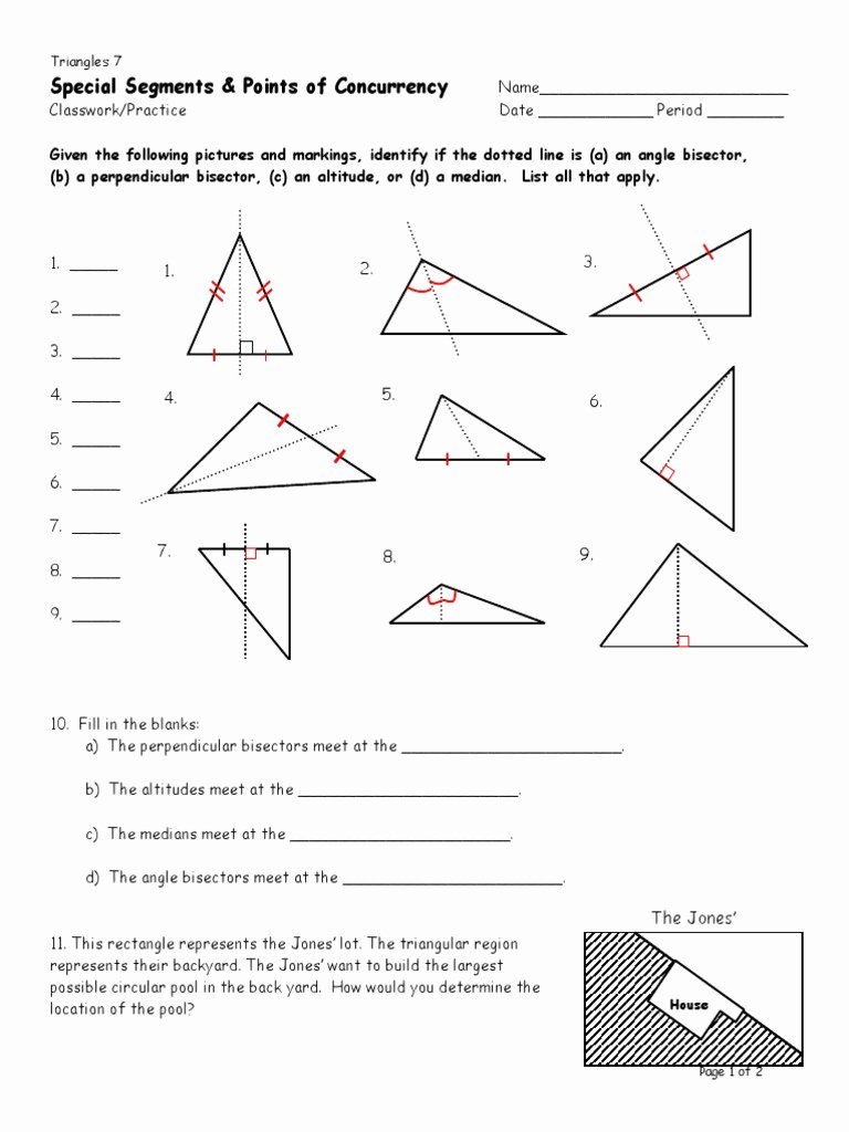 Points Of Concurrency Worksheet Answers New D7 Special Segments Classwork Practice Triangle