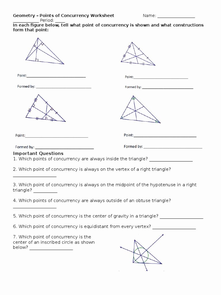 Points Of Concurrency Worksheet Answers top Points Of Concurrency Ws 1 Triangle