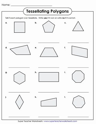 Polygon Worksheets for 2nd Grade Best Of Tessellation Polygons Worksheet