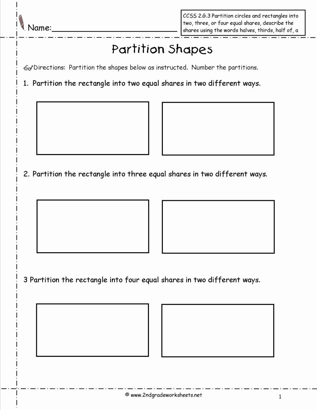 Polygon Worksheets for 2nd Grade Kids Worksheet 2nd Grade Geometry Worksheets Ccss G Partition