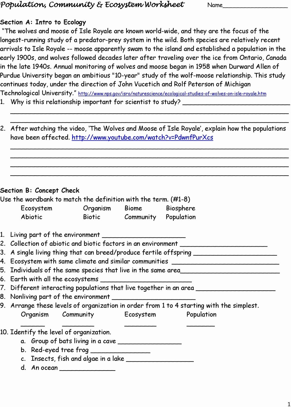 Populations and Communities Worksheet Answers Ideas Population Munity & Ecosystem Worksheet Pdf Free Download