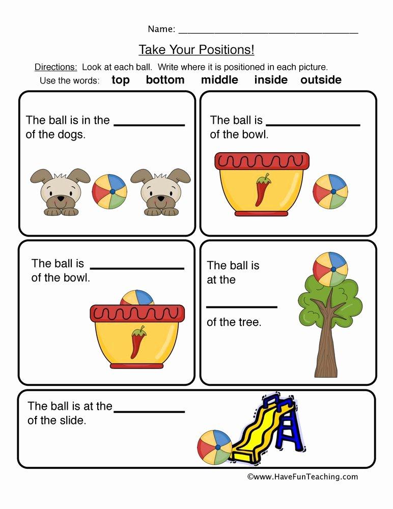 Positional Words Worksheet for Kindergarten Ideas Prepositions Positions Worksheet