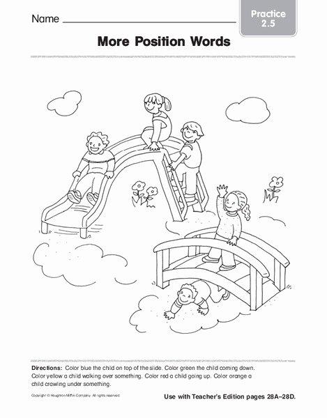 Positional Words Worksheet for Kindergarten top More Position Words Worksheet for Kindergarten 1st Grade