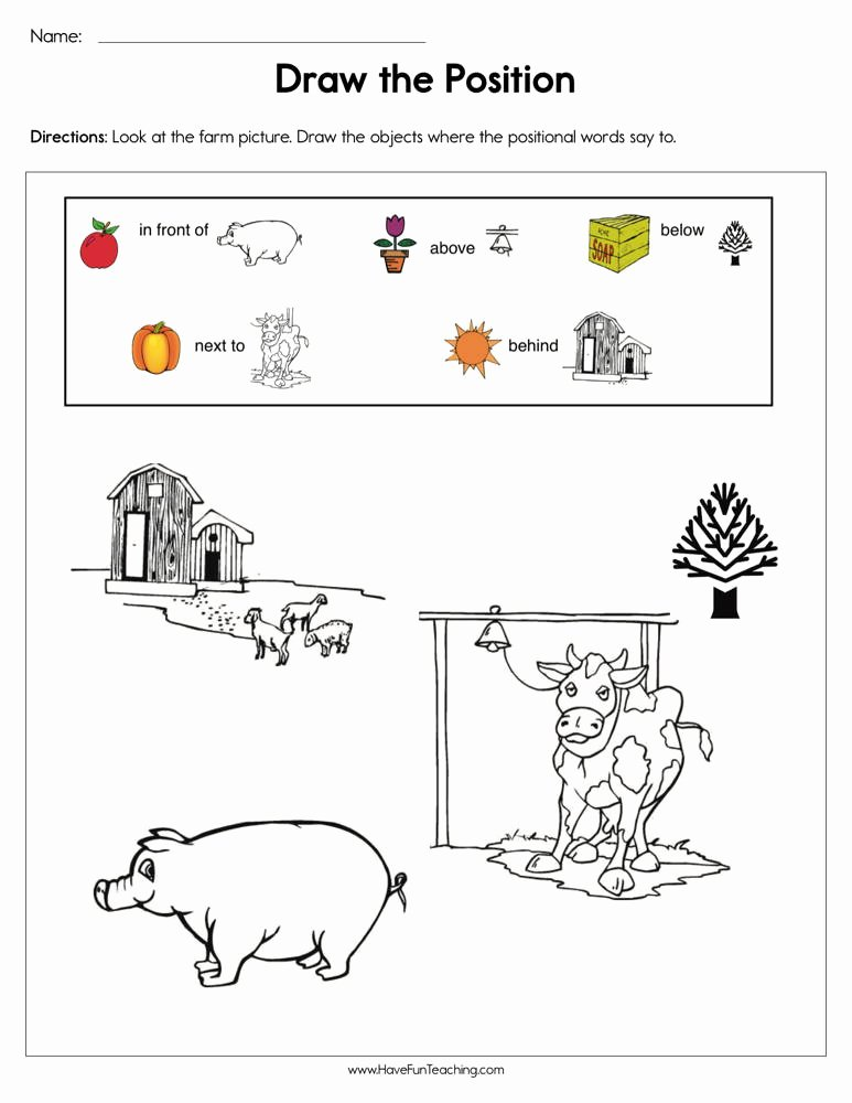 Positional Words Worksheets for Kindergarten Kids Draw the Positions Worksheet