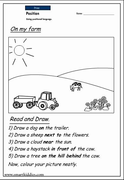 Positional Words Worksheets for Kindergarten top Printable Positional Words Worksheets